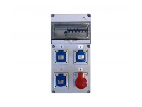 GRADBIŠČNA OMARICA GW 68 Z RCCB KOMPLETNA VAROVANA 3x1P16 1X 3P16 3x ŠUKO 1x 5P16A IP44 435x220x96mm AS07742