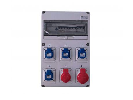 GRADBIŠČNA OMARICA GW 68 Z RBC KOMPLETNA VAROVANA 4x1P16 1X 3P16 3P32 4x ŠUKO 1x 5P16A 1x5P32A IP44 510x320x120mm AS07741