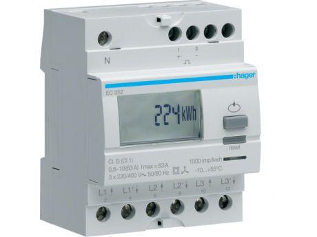 ŠTEVEC ELEKTRIČNE ENERGIJE HAGER 3F 2T 63A EC352