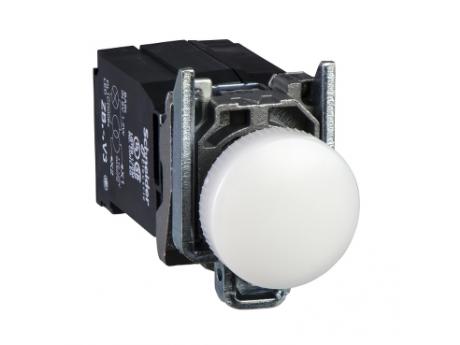BELA KOMPLETNA SIGNALNA SVETILKA Ø 22 GLADKA LEČA Z VGRAJENO LED, 400 V XB4BV5B1